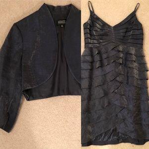 ADRIANNA PAPELL SHIMMER SHUTTERPLEAT DRESS/JACKET